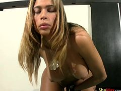 This sexy blonde tgirl in her black string bikini top and barely there mini skirt was enough to make your cock sit up and say hot damn. Paola was one hot shedoll that had mouth watering curves...
