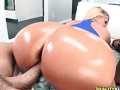 Blonde Karen Fisher with huge melons and bald snatch is desperate for man goo