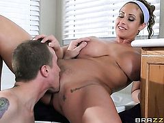 Milf senorita Eva Notty with huge breasts shows her slutty side to hard cocked dude by taking his hard love wand in her mouth