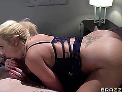 Blonde Richie Black with giant tits gets her mouth stretched by thick rock hard love wand of hot fuck buddy