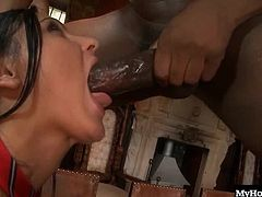 Honey Demon isnt a well behaved harlot, and she knows it. Guys dont invite her over because shes a good girl, so taking three dicks at once is no big deal for Honey. They start by having her bend over and get her as slapped, and then it comes time for the penetration. Shes getting plowed in the pussy while tackling the other dicks, one in each hand. Finally her ass gets coated in a huge layer of jizz, and the black dick that released it still needs some more attention as the other two white ones await their release.