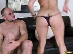 Brunette Jmac shows her slutty side to hot dude by taking his erect meat pole in her mouth