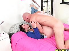 Redhead Shae Snow with phat booty and hairless beaver is too horny to stop fingering her love tunnel