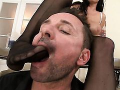 Milf with massive boobs and clean pussy cant resist the desire to take heavy pop shot on her face