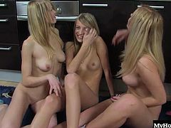 Being blonde means having better sex than anyone else, an this trio of fair skinned ladies knows all about life with yellow hair. Watch them threeway suck a cucumber before sliding it into each others pussies and seeing whose is the tightest.