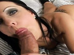 Nikki Rider with juicy tits and clean snatch is on the edge of nirvana with guys rock hard love stick in her mouth
