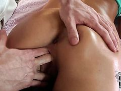 With small boobs and shaved cunt asks her man to drill her sweet mouth