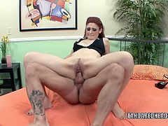 Redhead coed Violet Monroe is banging a dude she just met