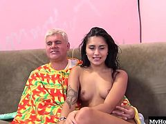 Giselle Mari likes taking college loads just as much as those of older men, so when she got a chance to get fucked by Mr. Hanson and his younger friend Daniel, she couldnt say no. Showing up in nothing but purple socks, this sweet brunette throws her legs back and lets the dudes take turns eating her out, fucking her with dildos, and eventually cumming in her mouth.