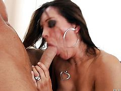 Brunette Francesca Le with giant knockers takes mans cum loaded snake in her pussy