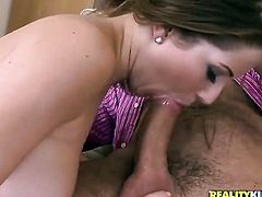 Brunette Larissa Dee with big butt and hairless beaver dildoing her snatch