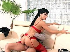 Secretary Aletta Ocean fucked in sexy red lingerie