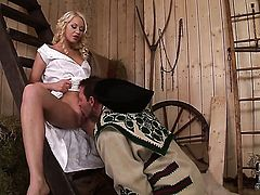 Lindsey Olsen with small tits and smooth bush gets skull pounded