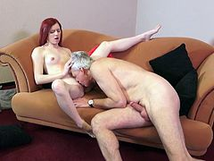 Visit official Beauty And The Senior's HomepageFirst time for this cute redhead, Vanessa Shelby, when she gets to try senior dick for a few spins and the feeling of having it fully in her cunt is precious