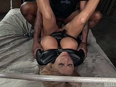 Domination is the key word and this hot blonde with magnificent tits gets subdued by a horny ebony guy, that fucks her roughly. Then, sexy Alyssa receives another visit. This man prefers to pound her from behind. Click to watch the hardcore scenes!