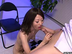 Sexy ass Asian babe has a titty fuck as the man has a dear desire to fuck the bitch the raw way. She is fucked by him and then she takes a cock to her tits.