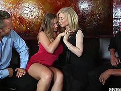 Devon Lee and Nina Hartley are the next couple who have decided to share their hot bodies with each others hubbies. After undressing each other, allowing you to have a look at their gigantic knockers, big nipples and bubble butts, they take turns fucking each others man, including a close up of one MILF massaging her clitoris, before getting a facial.