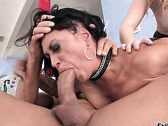 Claudia Valentine and horny dude have a lot of fun in this oral action
