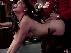 The room is chock full of sexy slaves, who get their crazy asses slapped and whipped. While a group is watching the incredible kinky scenes, a brunette bitch is pounded hard from behind, when a naked busty milf is tied with strong ropes and left hanging from the ceiling... Click to enjoy the inciting events!