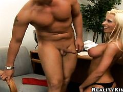 Blonde Tanya James with juicy breasts and hairless snatch enjoys the warmth of mans erect tool deep down her throat