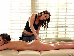 Because of my sedentary work, she recommended me her special ass massage and I accepted the offer. She carefully oiled every inch of my tired body and said me to relax. Then, she gently sticked her finger in my asshole and started twist it inside. It feels sensational! I only asked her not to stop... Sensual lesbian massage!