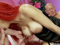 Horny chick with big fake boobs and literally red hair, Mai Bailey, takes on two men who double penetrate her hungry holes in this MFM threeway group sex session from Bluebird Films DP Dreams, which ends with her getting frosted with cum.