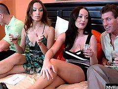 Watch as the lovely MILFs Amber Rayne and Melissa Lauren take off their panties allowing their husbands to screw them during this hardcore, MMFF fourway, where youll see the dark blondes bubble butt and asshole, while shes laying on the brunettes hubbies stiff rod, fucking him as the big boobed brunette is being pounded by her husband