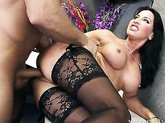 Brunette exotic Lezley Zen with gigantic tits makes her sex dreams a come true in cumshot action