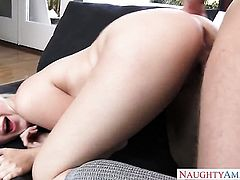 Blonde with tiny booty and trimmed pussy makes mans love stick harder with her skillful hands