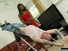 Ana Foxxx is a hot black bitch with a deliciously hairy pussy and a thick black ass and she is about to have her wet cunt slammed into by a thick white cock. See her stud tease her wet slit with his thick dong before her pumps an orgasm out of her and covers her hairy pussy with his creamy white jizz.