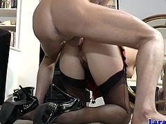 Stockinged british milf gagged and assfucked