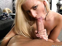 Blonde is a blowjob addict who loves guys erect meat pole