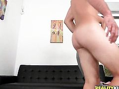 Brunette with big ass and shaved pussy is curious about taking cumshot on her lovely face