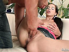 Brunette Ferrera Gomez lets hot dude put his cock in her pussy