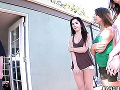 Brunette Sophia Sutra with round butt gets her hole destroyed by dudes throbbing love wand