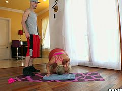 Candice is so flexible and when she does a hand stand, it gives her man the chance to see her pink pussy and round ass. After having her pussy spread, she deepthroats her man's cock and makes him cum hard.