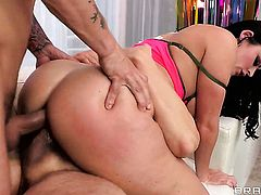 With phat butt enjoys the warmth of hard tool deep in her bottom