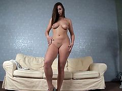 Amazingly sexy bombshell Paige Turnah with juicy boobs and smooth snatch kills time playing with herself