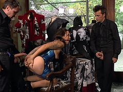 A slutty brunette gets humiliating, by being obliged to stand as a mannequin in a clothes store window. Then, the bitch gets persuaded to suck dick, while also being fucked hard, from behind. Click to watch all the hardcore kinky details!