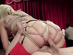 Eager to watch some really kinky hardcore scenes? While slutty Zoey is riding dick, Samantha stuffs a dildo in her crazy ass. Also, another man begins to whip her tattooed back. See the excitement errupting and the atmosphere growing even hotter!