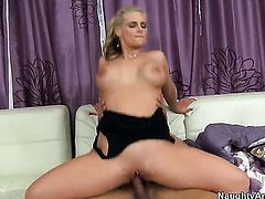 Blonde Phoenix Marie with gigantic melons and bald pussy makes her sex dreams a reality with her hard cocked fuck buddy