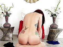 Brunette asian babe Monique Alexander with massive breasts and bald beaver enjoys hard fucking too much to stop