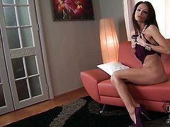 Sophie Lynx with small tities and smooth cunt has a lot of sexual energy to spend and does it alone!