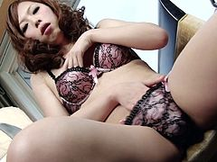 Heavenly Japanese tranny is not afraid to show off her stunning dick
