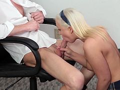 Visit official Innocent High's HomepageBlonde schoolgirl leaves teacher to lift up her skirt and crack her shaved peach in hardcore modes, all in exchange for better grades