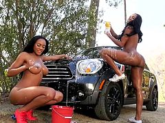 Visit official Playboy's HomepageEbony beauties, Brittany and Brandi Kelly, are having a naughty time together by posing nude during a soapy car wash solo scene