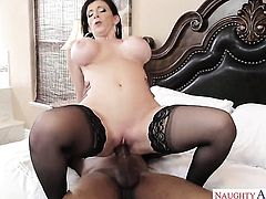 Brunette oriental Sara Jay with juicy ass and smooth cunt enjoys hard sex too much to stop