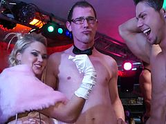 Desirous babe with natural tits gives a blowjob at  kinky groupsex party