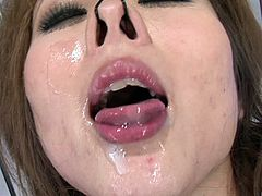 Submissive Japanese slut with a sexy mouth sucks off cocks
