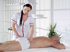 Who said nurses have to play nice? Natalee gets this guy hard before she's even in the room as he takes a peak at her getting prepped to suck some serious cock. She warms up with a quick massage but then cuts right to the chase and heads straight for the muscle she handles best.